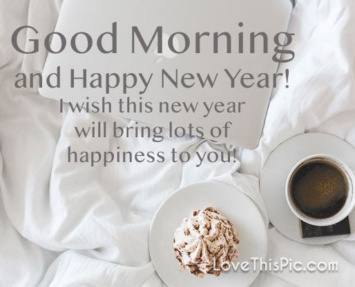 Good Morning And Happy New Year Coffee Cake Image