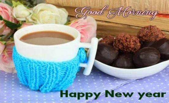 Good Morning New Year Coffee Tea Flowers
