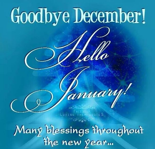 Goodbye December Hello January Image Picture for Facebook, Pinterest