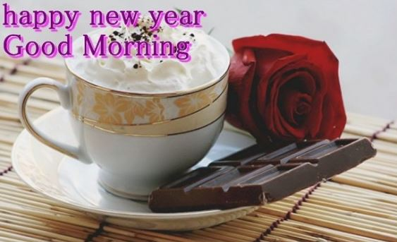 Happy New Year Good Morning Coffee Rose Chocolate Image Picture