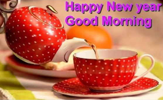 Happy New Year Good Morning Image of Coffee for Facebook and Pinterest