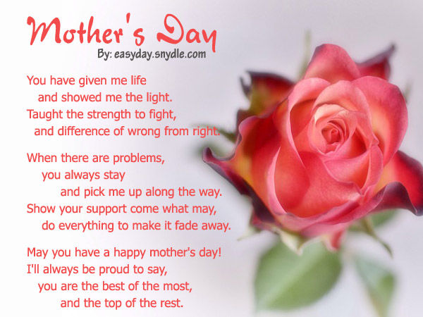 Beautiful Mothers Day Poems from Daughter