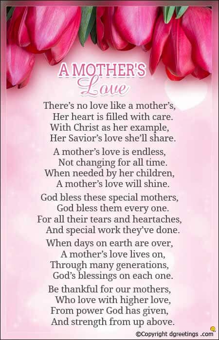 Beautiful Sunday School Mothers Day Poems