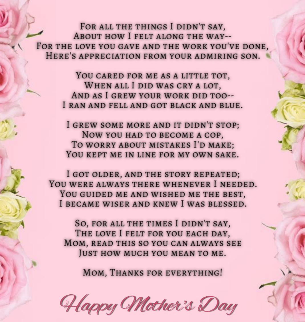 Best Mothers Day Poems from Child Son Daughter