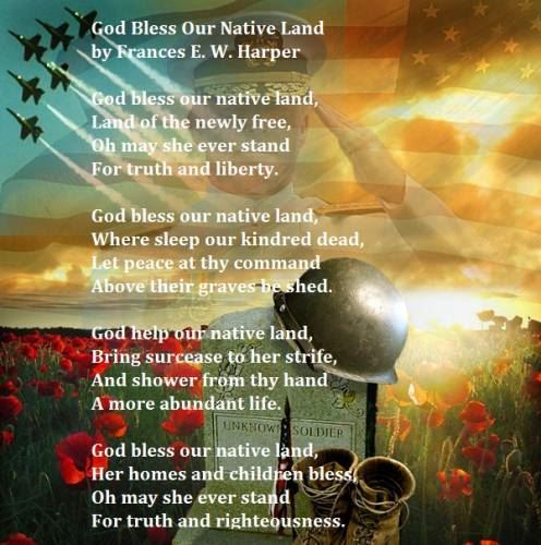 God Bless our Native Land Memorial Day Poem Images
