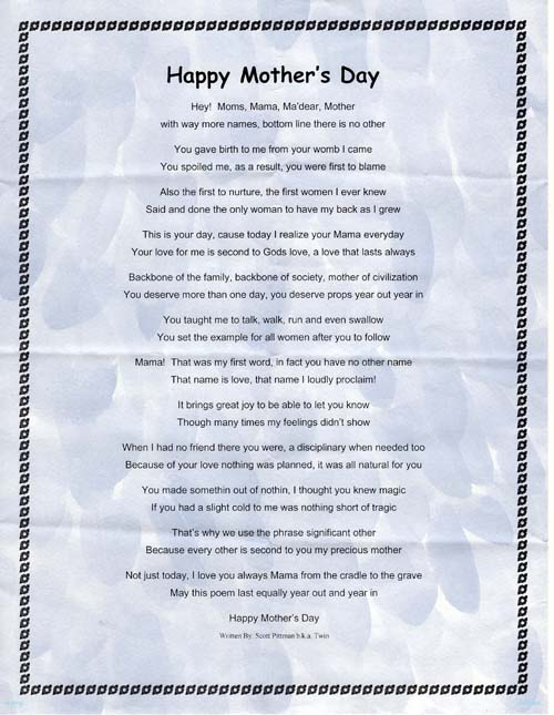 Happy Mothers Day Poems Wishes