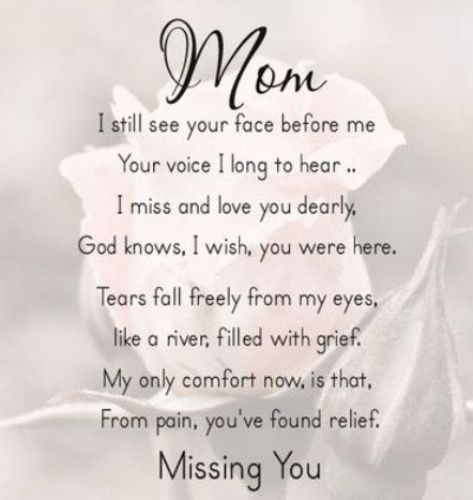 Mom I Miss you Mothers Day Image
