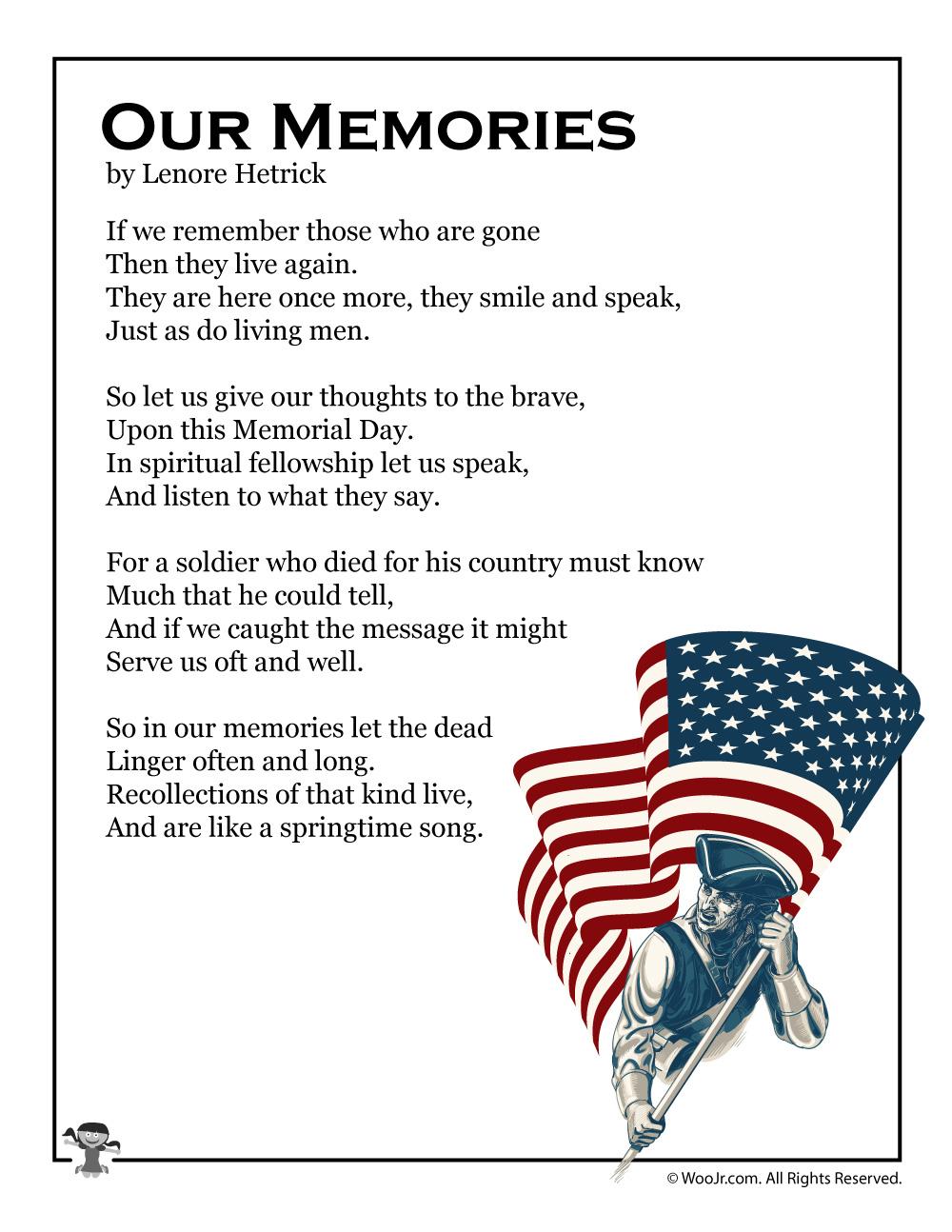 Our Memories Poem Memorial Day Photo