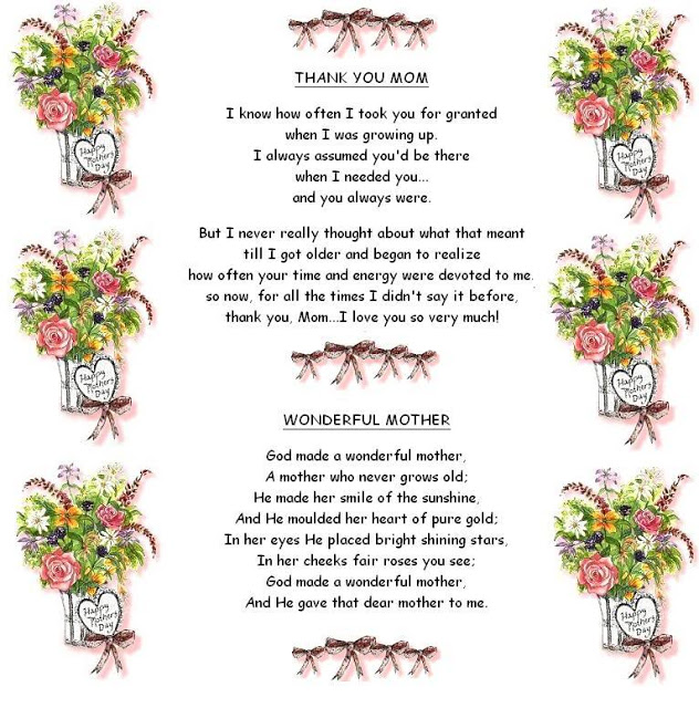 Thank You Mom - Happy Mothers Day Poems Wishes Messages - Wonderful Mother Images