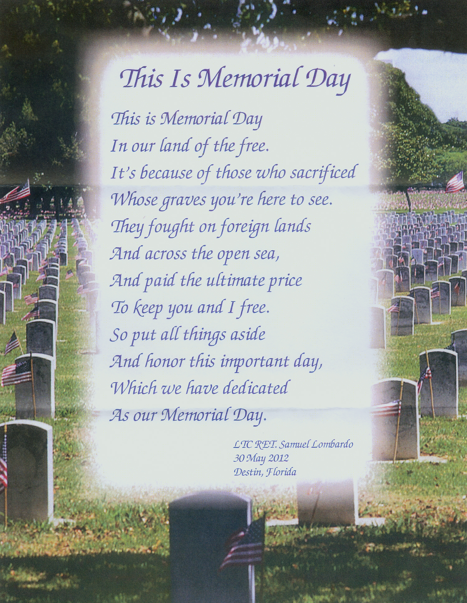 This Is Memorial Day Poem Prayer