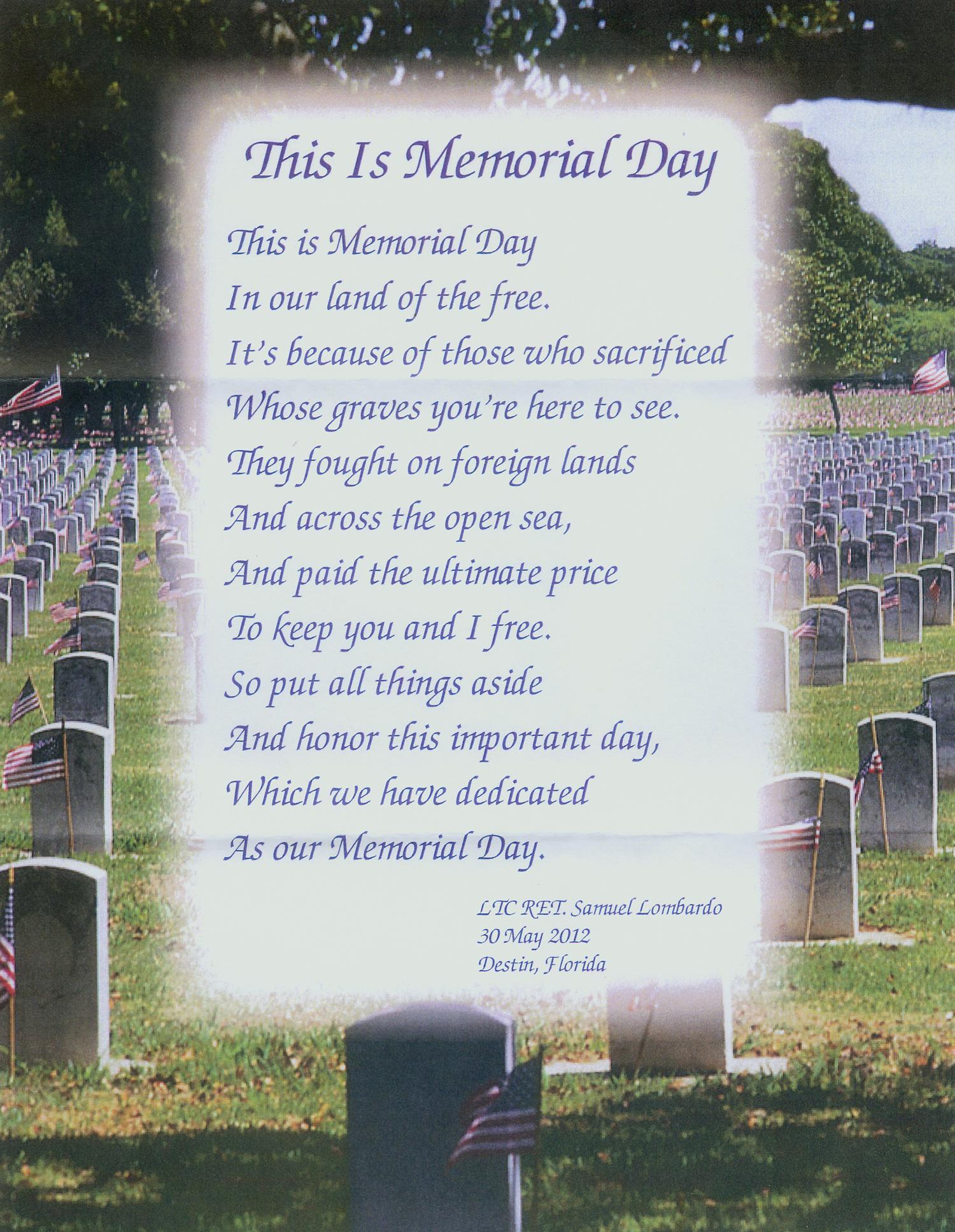 This Is Memorial Day Poem Prayer