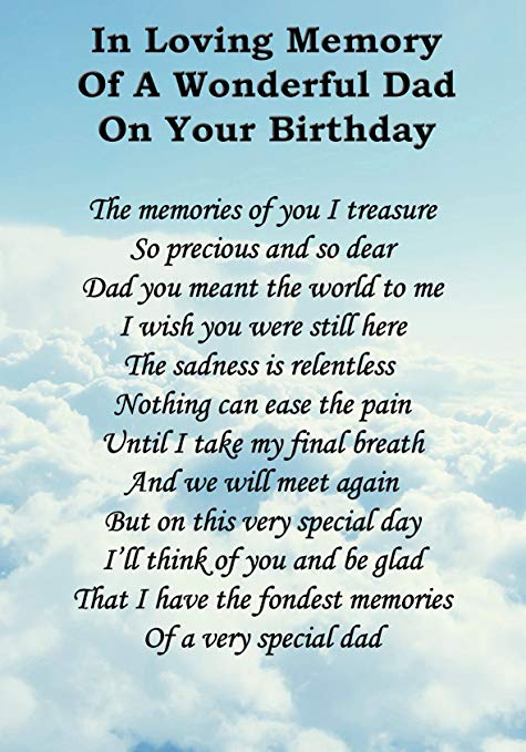 In Loving Memory Dad on Birthday Fathers Day in Heaven