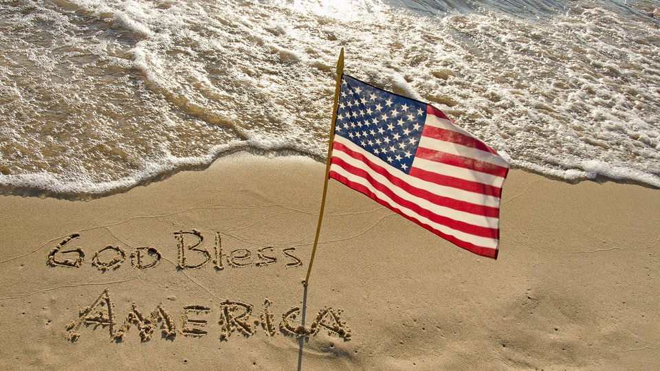 God Bless America with Flag HD Image