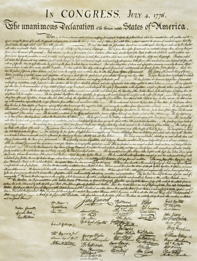 Thomas Jefferson Declaration of Independence Wrinkled Color Image
