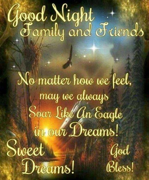 Good Night Family and Friends Sweet Dreams God Bless Wishes Sayings Images