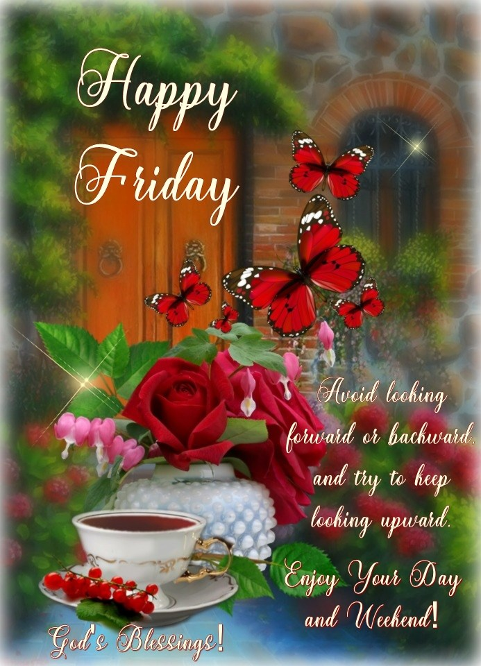 Happy Friday Good Morning Rose Flowers Butterfly Quotes Greetings Wishes Image